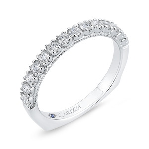 Round Diamond Half Eternity Wedding Band In 14K White Gold with Euro Shank