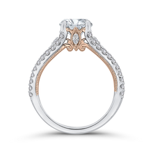 Load image into Gallery viewer, 14K Two Tone Gold Round Cut Diamond Engagement Ring (Semi Mount)
