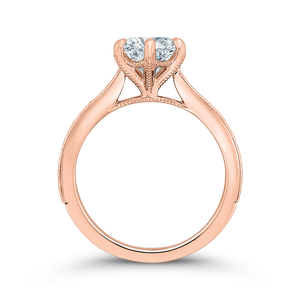 14K Rose Gold Round Diamond Engagement Ring (Semi Mount)