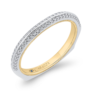 Round Diamond Half Eternity Wedding Band In 14K Two Tone Gold with Euro Shank
