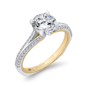 14K Two Tone Gold Round Diamond Engagement Ring with Split Side Euro Shank (Semi Mount)