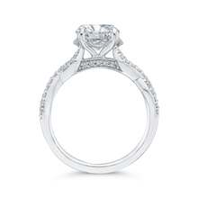 Load image into Gallery viewer, 14K White Gold Round Diamond Crossover Shank Engagement Ring (Semi Mount)