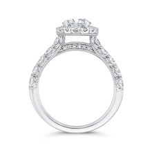 Load image into Gallery viewer, Round Halo Diamond Engagement Ring In 14K White Gold (Semi Mount)