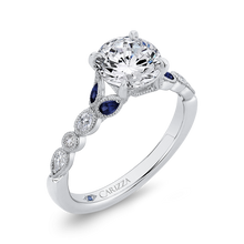 Load image into Gallery viewer, 14K White Gold Round Diamond Engagement Ring with Sapphire (Semi Mount)