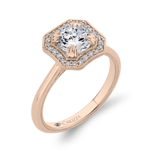 Load image into Gallery viewer, 14K Rose Gold Round Diamond Halo Engagement Ring with Euro Shank (Semi Mount)
