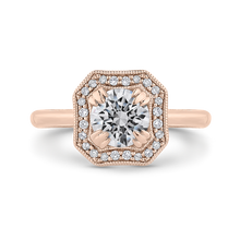 Load image into Gallery viewer, CA0442E-37P-1.00 Bridal Jewelry Carizza Rose Gold Round Diamond Halo Engagement Rings