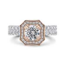 Load image into Gallery viewer, 14K Two Tone Gold Round Diamond Halo Engagement Ring (Semi Mount)