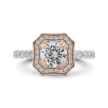 Load image into Gallery viewer, CA0443EH-37WP-1.00 Bridal Jewelry Carizza White Gold Rose Gold Yellow Gold Round Diamond Halo Engagement Rings