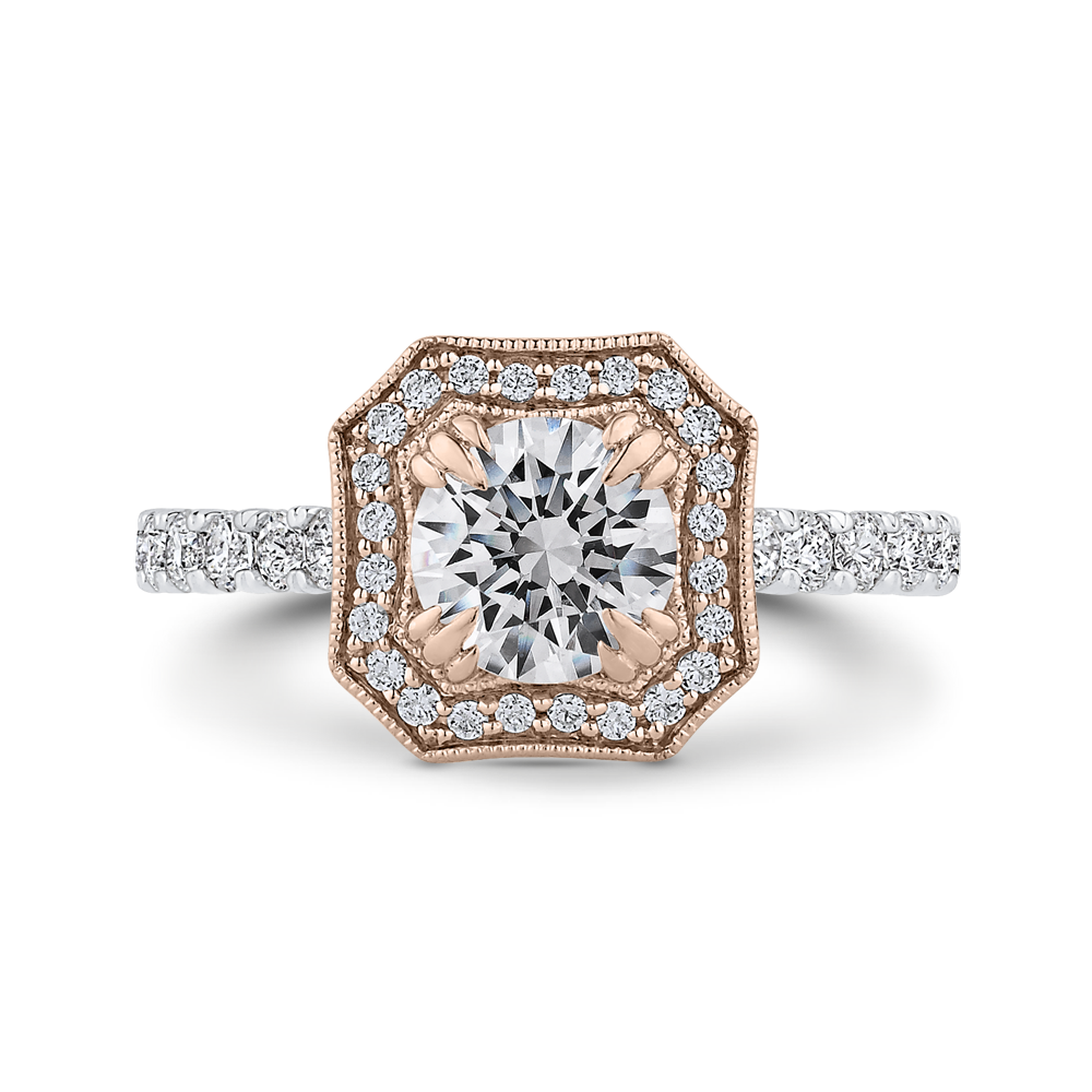 CA0443EH-37WP-1.00 Bridal Jewelry Carizza White Gold Rose Gold Yellow Gold Round Diamond Halo Engagement Rings