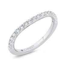 Load image into Gallery viewer, 14K White Gold Round Half Run Diamond Wedding Band