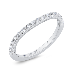 14K White Gold Round Half Run Diamond Wedding Band