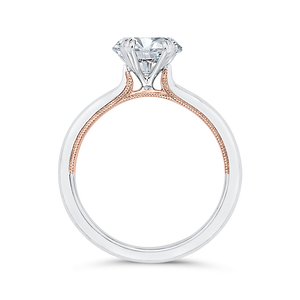 14K Two-Tone Gold Solitaire Engagement Ring (Semi-Mount)
