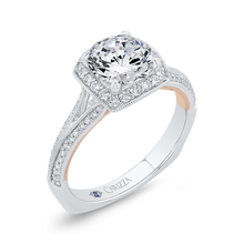 Load image into Gallery viewer, 14K Two-Tone Gold Diamond Halo Engagement Ring with Euro Shank (Semi-Mount)