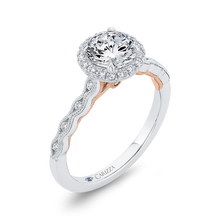 Load image into Gallery viewer, 14K Two-Tone Gold Diamond Halo Engagement Ring (Semi-Mount)
