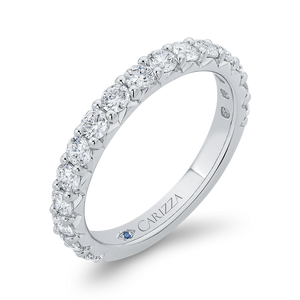 14K White Gold Half-Eternity Wedding Band