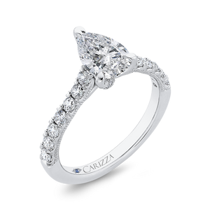 14K White Gold Pear Diamond Engagement Ring (Semi Mount)