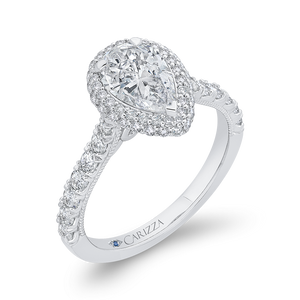 14K White Gold Pear Diamond Halo Engagement Ring (Semi Mount)