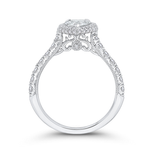 Load image into Gallery viewer, 14K White Gold Pear Diamond Halo Engagement Ring (Semi Mount)