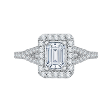 Load image into Gallery viewer, CAE0033E-37W Bridal Jewelry Carizza White Gold Emerald Diamond Halo Engagement Rings