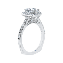 Load image into Gallery viewer, Emerald Cut Diamond Halo Engagement Ring In 14K White Gold (Semi Mount)