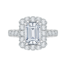 Load image into Gallery viewer, CAE0037E-37W Bridal Jewelry Carizza White Gold Emerald Diamond Halo Engagement Rings