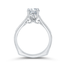 Load image into Gallery viewer, Emerald Cut Diamond Solitaire with Accents Engagement Ring In 14K White Gold (Semi Mount)