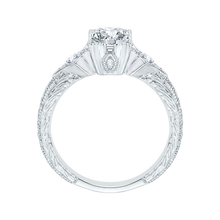 Load image into Gallery viewer, Emerald Diamond Vintage Engagement Ring In 14K White Gold (Semi Mount)