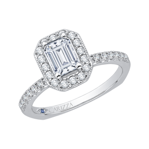 Emerald Cut Diamond Halo Engagement Ring In 14K White Gold (Semi Mount)