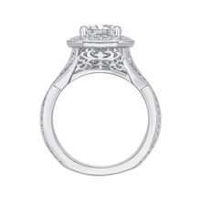 Load image into Gallery viewer, 14K White Gold Emerald Cut Diamond Halo Engagement Ring with Split Shank (Semi Mount)