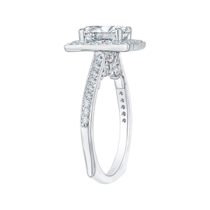 14K White Gold Emerald Diamond Halo Engagement Ring (Semi Mount)