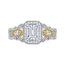 Load image into Gallery viewer, CAE0175EH-37WY Bridal Jewelry Carizza White Gold Rose Gold Yellow Gold Emerald Diamond Halo Engagement Rings