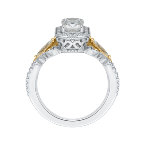 14K Two Tone Gold Emerald Cut Diamond Halo Engagement Ring (Semi Mount)