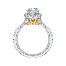 Load image into Gallery viewer, 14K Two Tone Gold Emerald Diamond Halo Vintage Engagement Ring with Split Shank (Semi Mount)