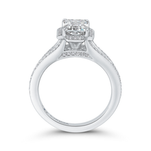 Load image into Gallery viewer, 14K White Gold Emerald Cut Diamond Cathedral Style Engagement Ring with Split Shank (Semi Mount)