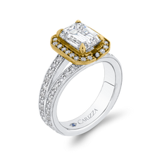 Load image into Gallery viewer, 14K Two Tone Gold Emerald Diamond Engagement Ring with Split Shank (Semi Mount)