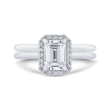 Load image into Gallery viewer, 14K White Gold Emerald Cut Diamond Halo Engagement Ring (Semi Mount)
