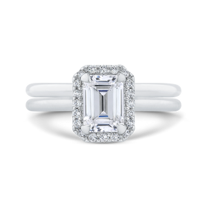 14K White Gold Emerald Cut Diamond Halo Engagement Ring (Semi Mount)