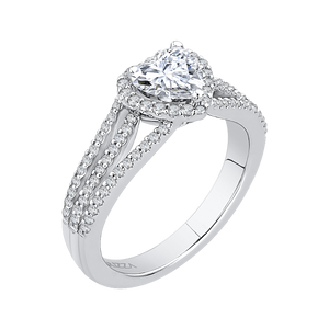 14K White Gold Heart Diamond Halo Engagement Ring with Split Shank (Semi Mount)
