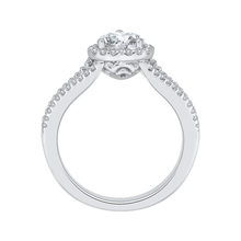 Load image into Gallery viewer, 14K White Gold Heart Diamond Halo Engagement Ring with Split Shank (Semi Mount)