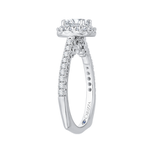 Load image into Gallery viewer, Oval Diamond Halo Engagement Ring In 14K White Gold (Semi Mount)
