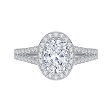 Load image into Gallery viewer, CAO0093E-37W Bridal Jewelry Carizza White Gold Oval Diamond Halo Engagement Rings