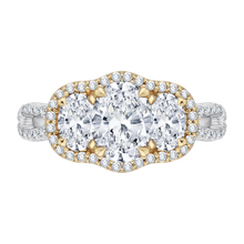Load image into Gallery viewer, CAO0122E-37WY-1.25 Bridal Jewelry Carizza White Gold Rose Gold Yellow Gold Oval Diamond 3 Stone Halo Engagement Rings