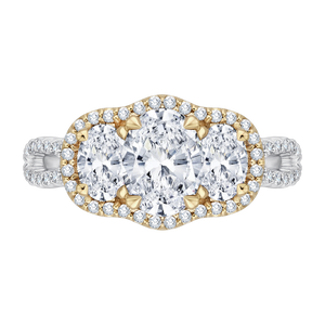 CAO0122E-37WY-1.25 Bridal Jewelry Carizza White Gold Rose Gold Yellow Gold Oval Diamond 3 Stone Halo Engagement Rings