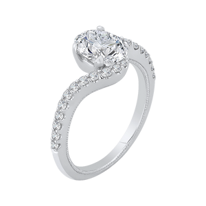 14K White Gold Oval Cut Diamond Promise Engagement Ring (Semi Mount)