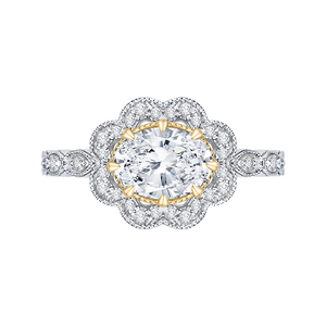 CAO0165EH-37WY-1.50 Bridal Jewelry Carizza White Gold Rose Gold Yellow Gold Oval Diamond Halo Engagement Rings