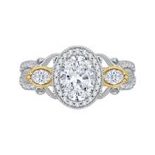 Load image into Gallery viewer, CAO0175EH-37WY Bridal Jewelry Carizza White Gold Rose Gold Yellow Gold Oval Diamond Halo Engagement Rings