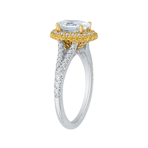 14K Two Tone Gold Oval Diamond Halo Engagement Ring with Split Shank (Semi Mount)