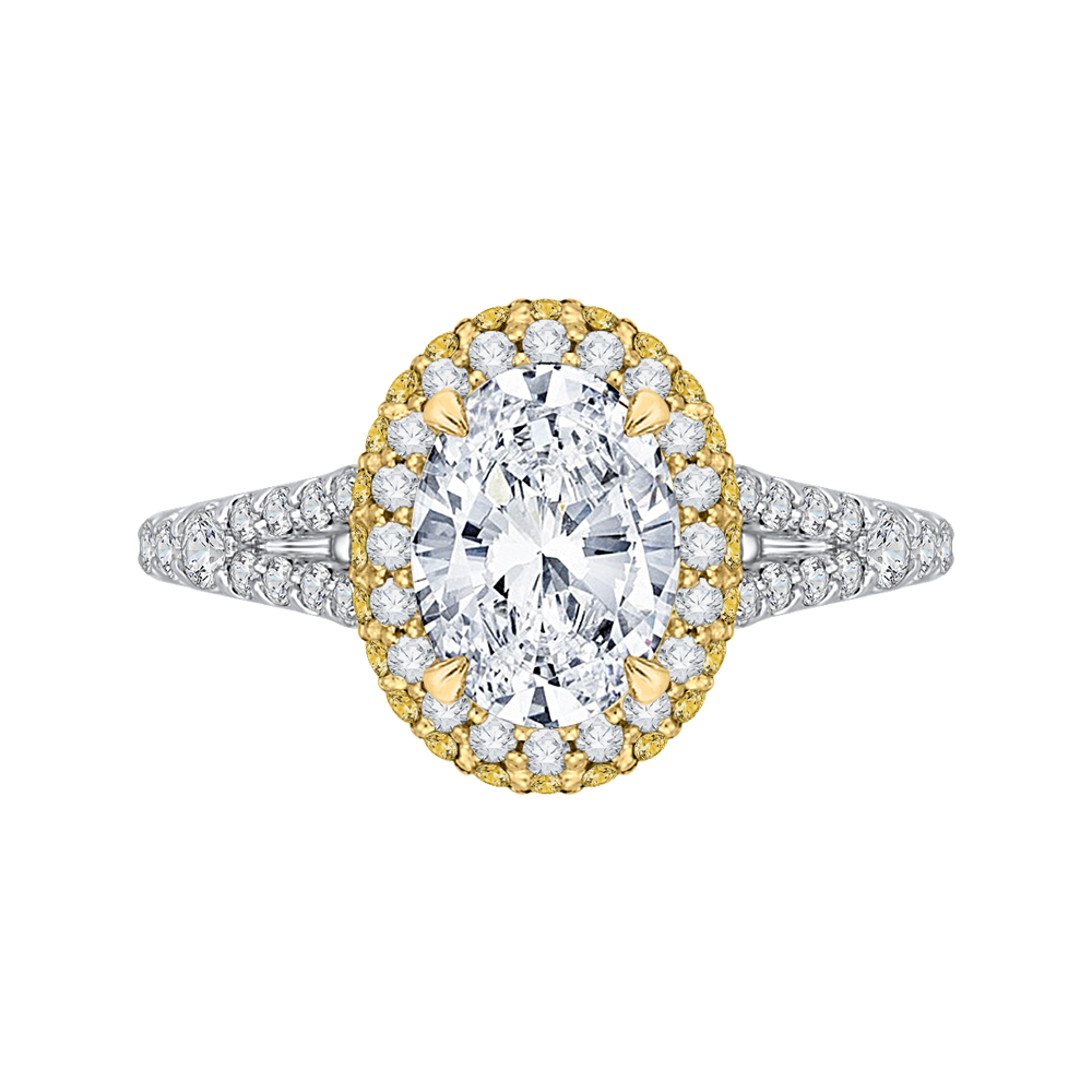 CAO0179EH-37WY-1.50 Bridal Jewelry Carizza White Gold Rose Gold Yellow Gold Oval Diamond Halo Engagement Rings