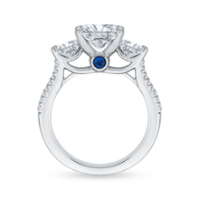 Load image into Gallery viewer, 14K White Gold Oval Cut Diamond Three Stone Cathedral Style Engagement Ring (Semi Mount)
