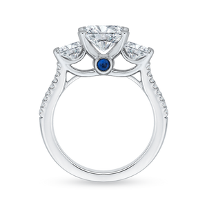 14K White Gold Oval Cut Diamond Three Stone Cathedral Style Engagement Ring (Semi Mount)